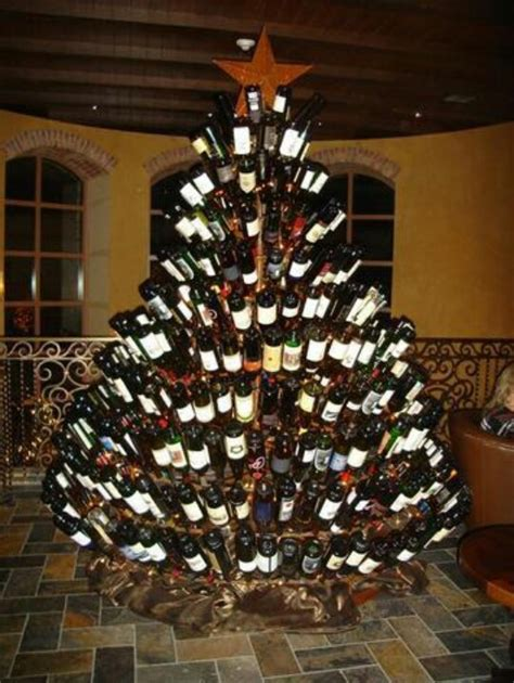 christmas tree made from wine bottles tree made of wine bottles diy home