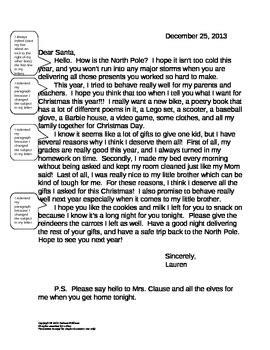 persuasive letter  santa student template  debbie  tpt