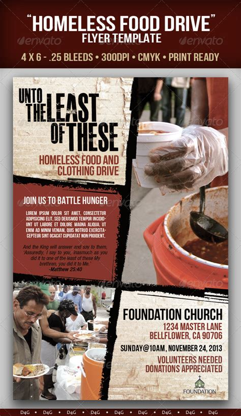 homeless food drive flyer template  dg graphicriver