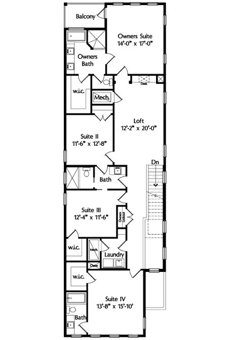 narrow lot mediterranean house plan mj  floor