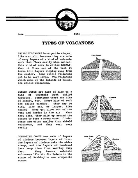 7 best volcano worksheets images on geography