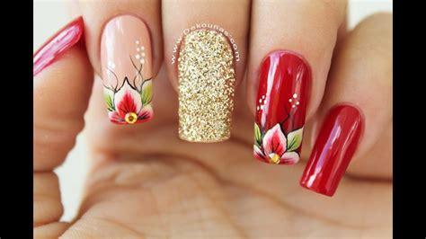 Atrévete a llevar diseños de uñas que están marcando tendencia en el 2020 ¡echa un vistazo y seguro que más de una te va a encantar! Diseño de uñas flores rojas - Red Flowers Nails design - YouTube