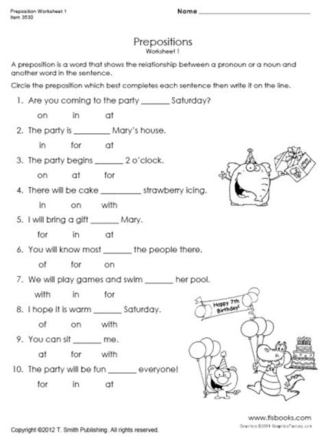 preposition worksheet 1