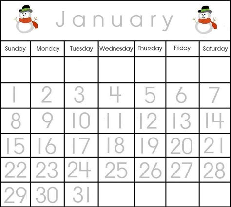 preschool printable calendar items 879 | january2012