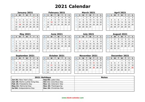 Free Printable Large Print 2021 Calendar | 2021 Printable ...