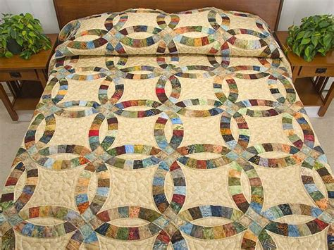 king painted double wedding ring quilt