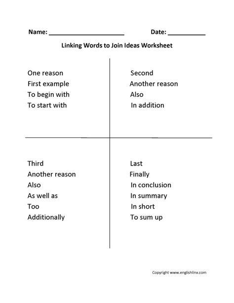 linking words worksheets englishlinx board