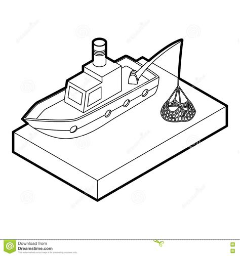 Boat Hull Outline by Fishing Boat Icon Outline Style Stock Vector Image