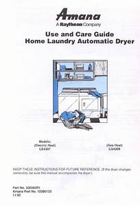 Amana Washer  Dryer Lg4309 User Guide