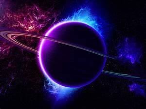 Universe Nebula Planet Ring Light Purple Blue Color 2560