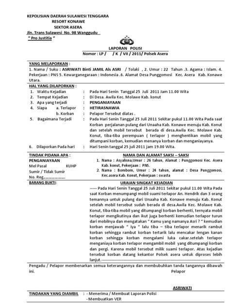 format laporan polisi