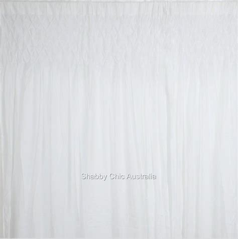 s white smocked shabby rod pocket window curtains