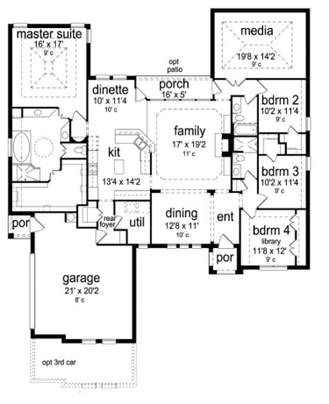 house plans with media room home plans homepw76403 2 768 square 4 bedroom 3