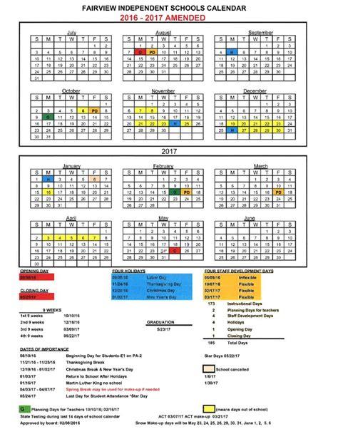 school calendar fairview independent schools