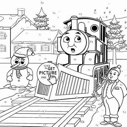 Thomas Coloring Friends Pages Printable Snowman Train