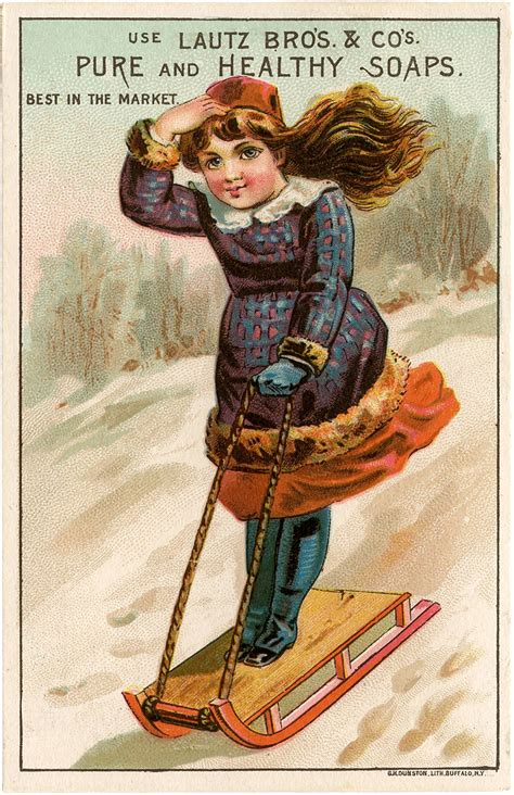 vintage girl sledding image  graphics fairy