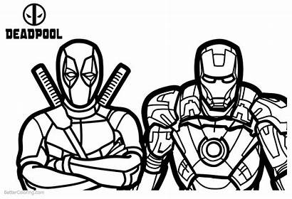 Deadpool Coloring Pages Superhero Ironman Printable Adults