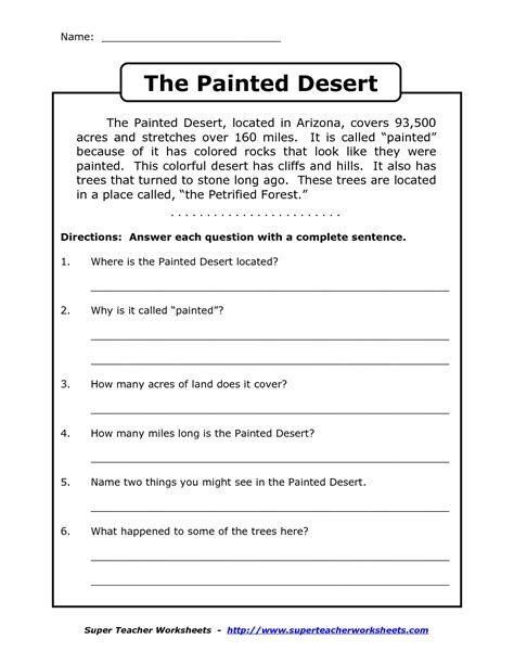 reading worksheets for 4th grade reading comprehension worksheets grade 3 name the painted