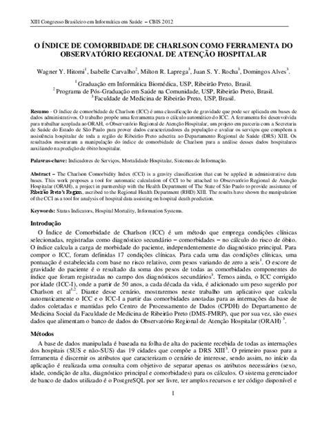 (PDF) O Índice de Comorbidade de Charlson como ferramenta ...