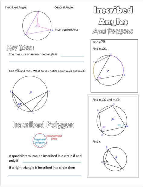 100 central and inscribed angles worksheet answers