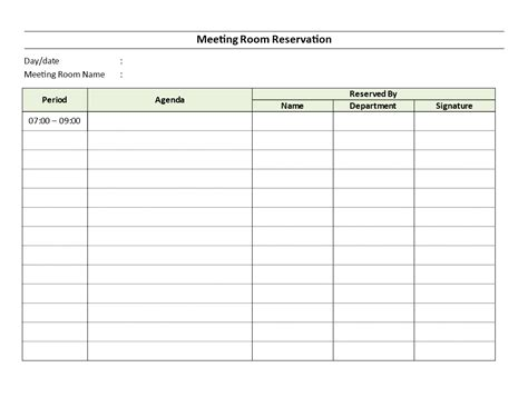 Conference Room Reservation Template by Meeting Room Reservation Sheet This Meeting