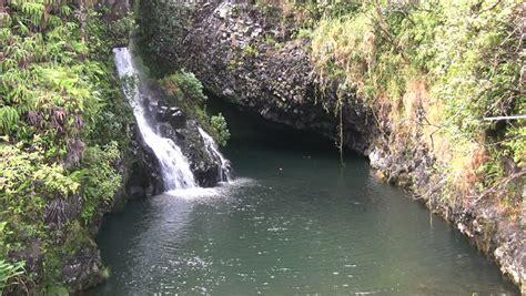 tropical island waterfall stock footage 2912668