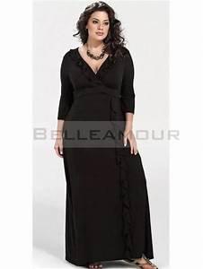 Robe longue noir manche longue for Robe de soirée noire manche longue