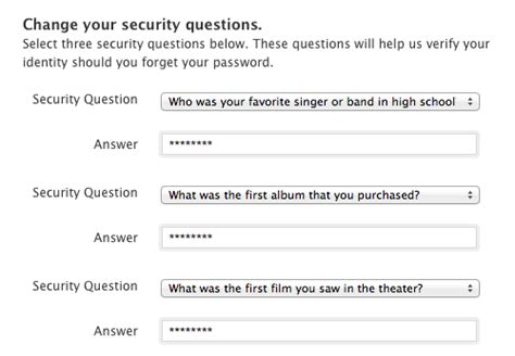 how to change security questions on iphone access denied