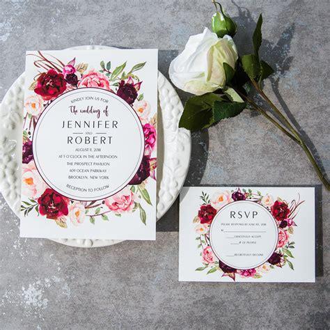 cheap burgundy floral boho wedding invitations ewi