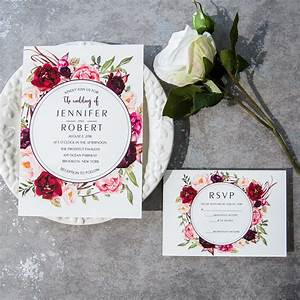 cheap burgundy floral boho wedding invitations ewi421 as With burgundy wedding invitations online