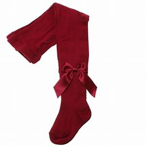 Spanish Top Quality Girls Burgundy Carlomagno Tights With Satin Bows | Cachet Kids