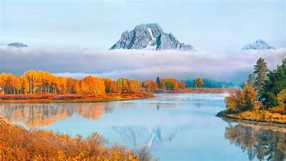 Fall Lake Water Nature Landscape Trees Snow