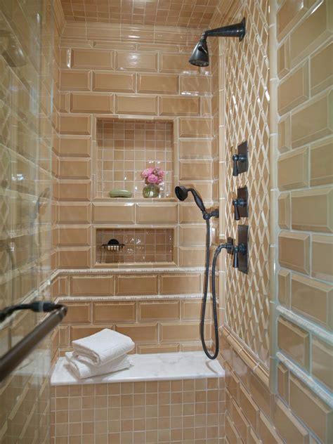 enclosed shower  glass tile  built  bench hgtv