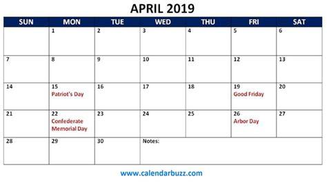 april  calendar  holidays holiday calendar
