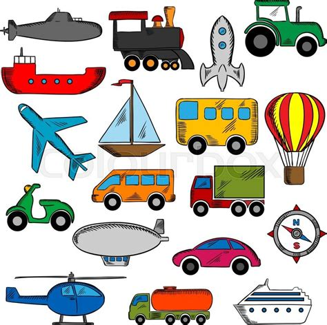 Transportation Icons Set With Silhouettes Of Cars And Buses, Train And Trucks, Ship And Airplane