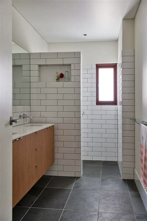 bathroom subway tile to da loos white subway tiles with grout do we like it