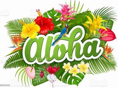Aloha Hawaii Tropical Lettering Plants Vector Flowers