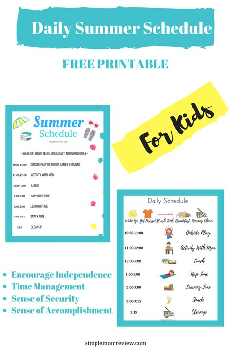 Daily Summer Schedule For Kids  Free Printable  Simple Mom Review