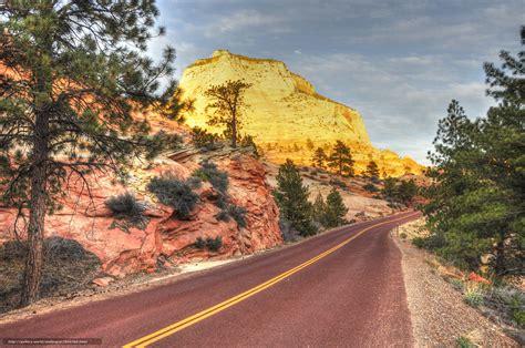 Zion National Park Wallpaper Tlcharger Fond D 39 Ecran Parc National De Zion Utah Route Montagnes Fonds D 39 Ecran Gratuits Pour