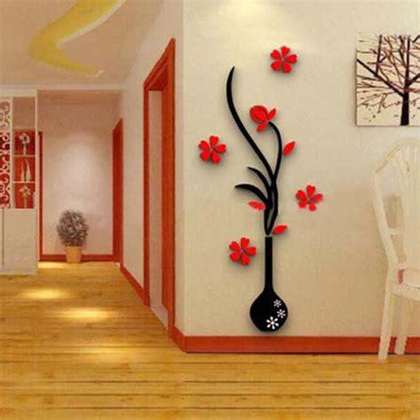 Etiqueta de la pared 3d cristal acrílico flor de moda