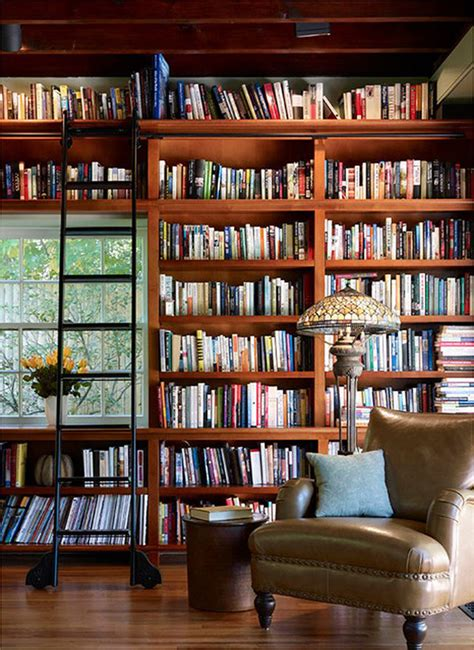 small home library with ladder