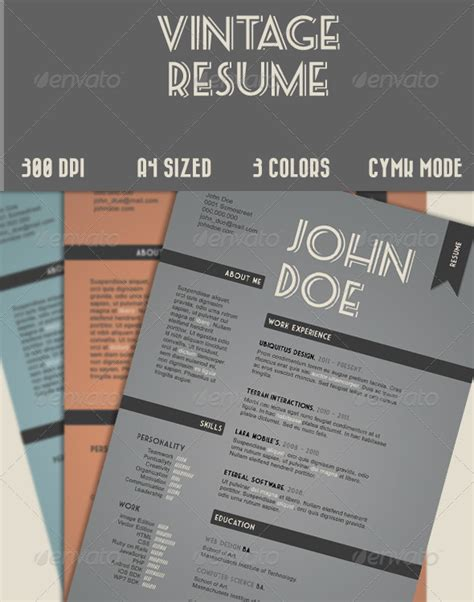 Vintage Resume Template by Vintage Style Resume Graphicriver