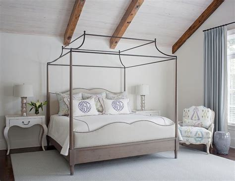 gray wash wood bed  iron canopy  white cabriole