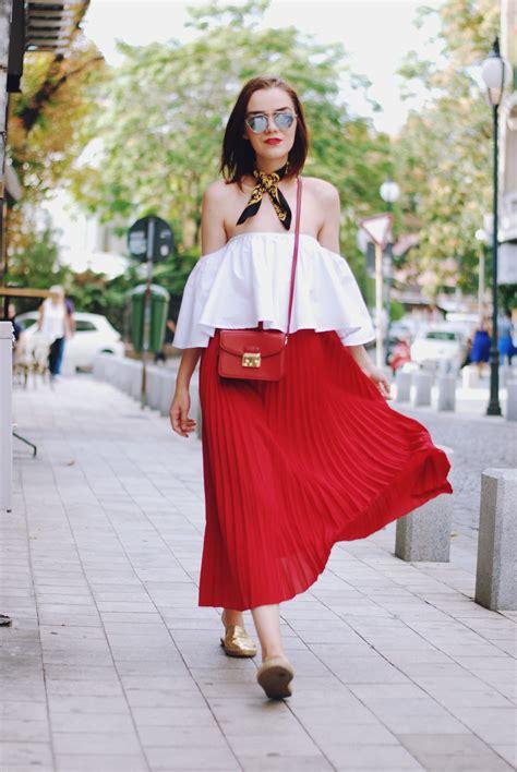 red midi skirt white  shoulder top couturezilla