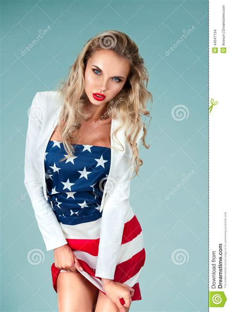 Pinup Girl With American Flag Stock Photo Image of
