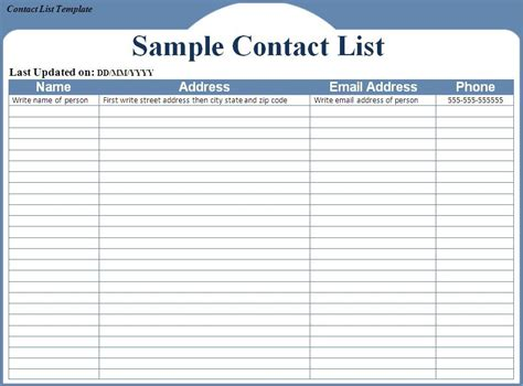 Contact List Template Contact List Template Peerpex