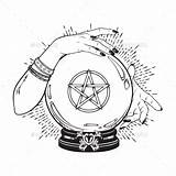 Crystal Ball Pentagram Fortune Gypsy Tattoo Cristal Teller Witch Hands Mani Cristallo Magic Palla Handen Mano Drawing Linea Boho Chic sketch template