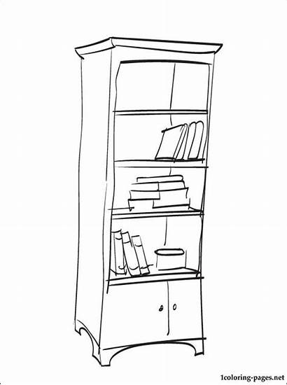 Coloring Bookshelf Pages Bookcase Furniture Drawing Bible