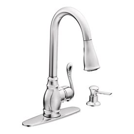 shop moen anabelle chrome 1 handle pull kitchen faucet at lowes