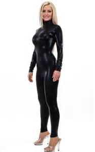 cat suits back zipper catsuit bodysuit in mystique black on black by